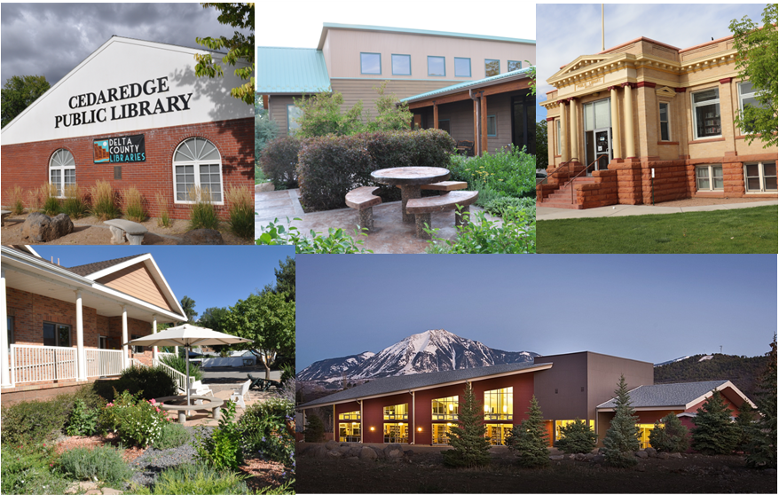 five libraries in Delta County, CO